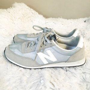 Gray/blue new balance shoes